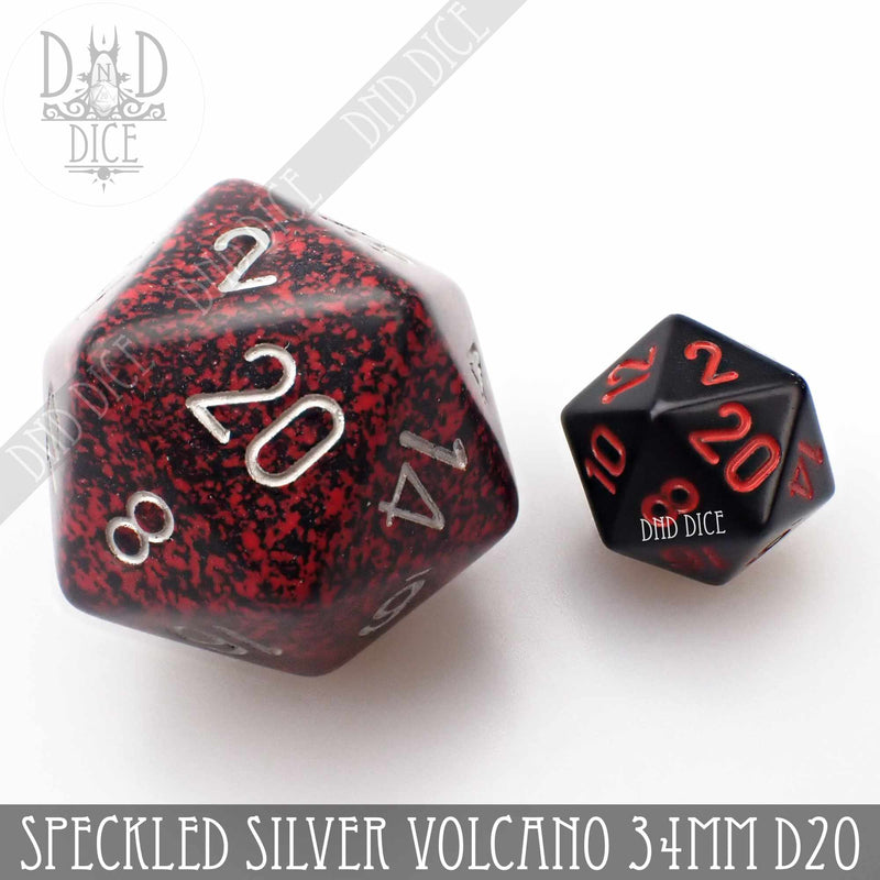 Speckled Silver Volcano 34mm D20 (Oversize)