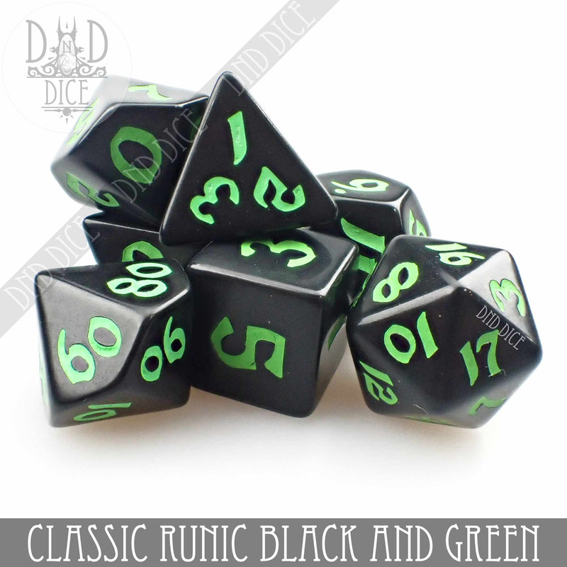 Classic Runic Black & Green Dice Set