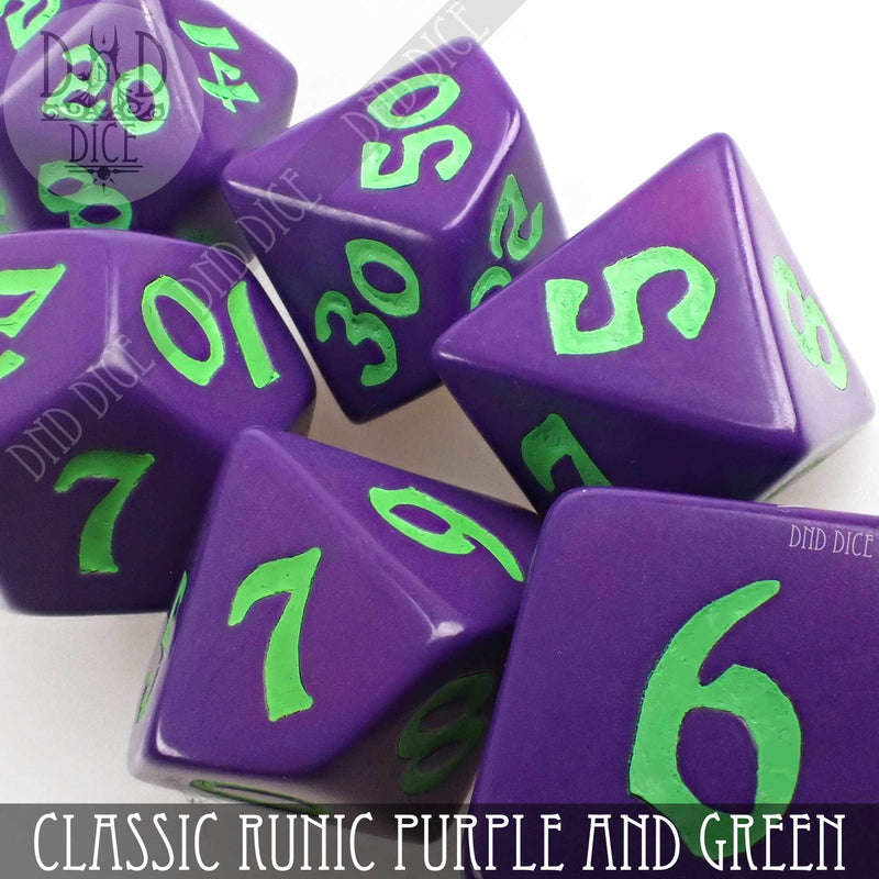 Classic Runic Purple & Green Dice Set