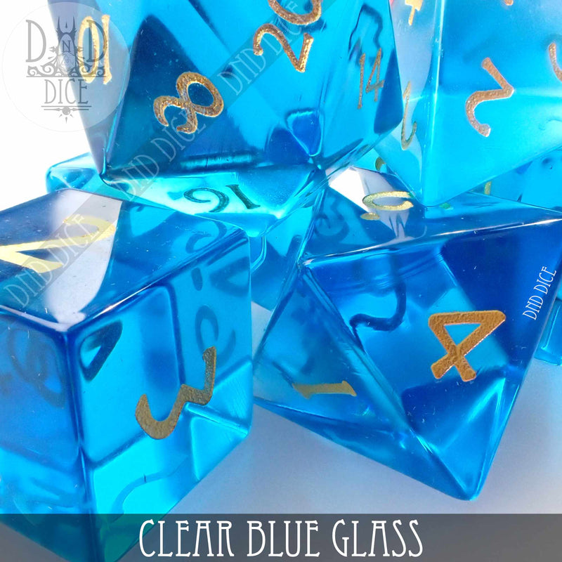 Clear Blue Glass Dice Set