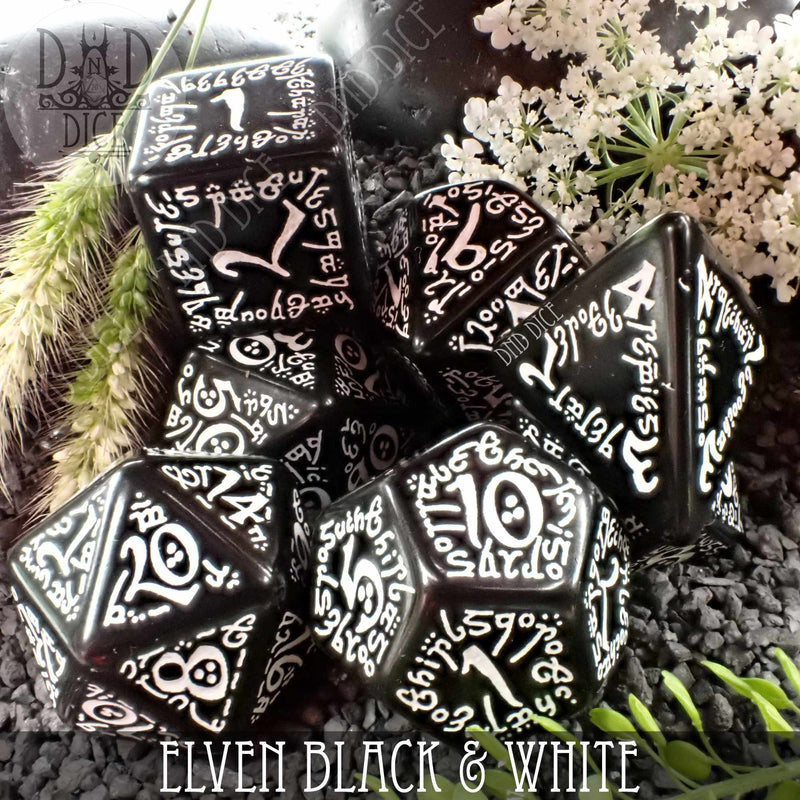 Elven Black & White Dice Set