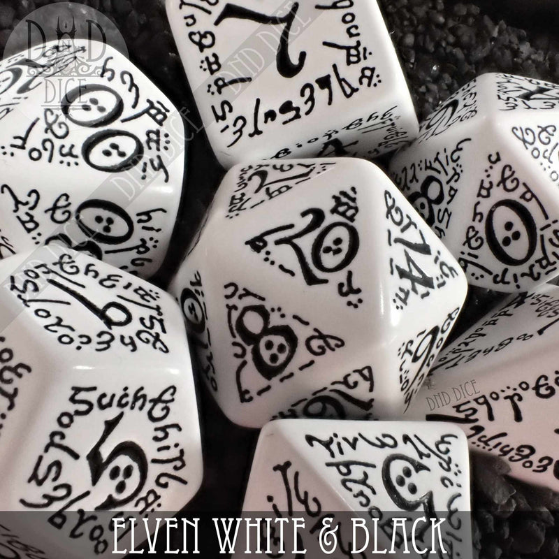 Elven White & Black Dice Set