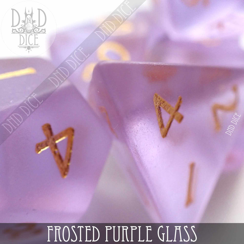 Frosted Purple Glass Dice Set