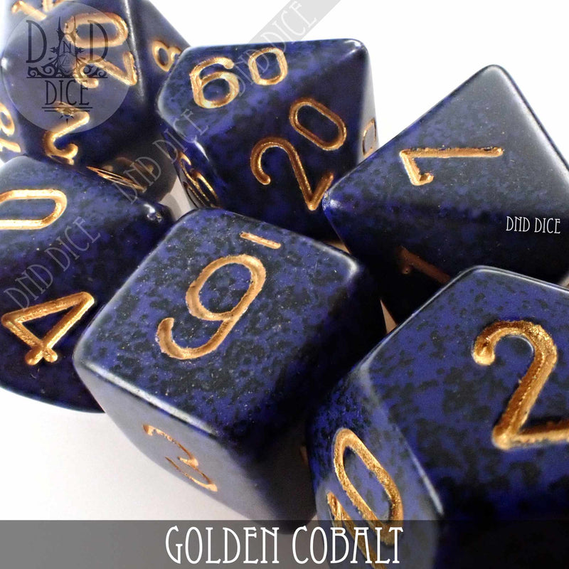 Golden Cobalt Speckled Dice Set