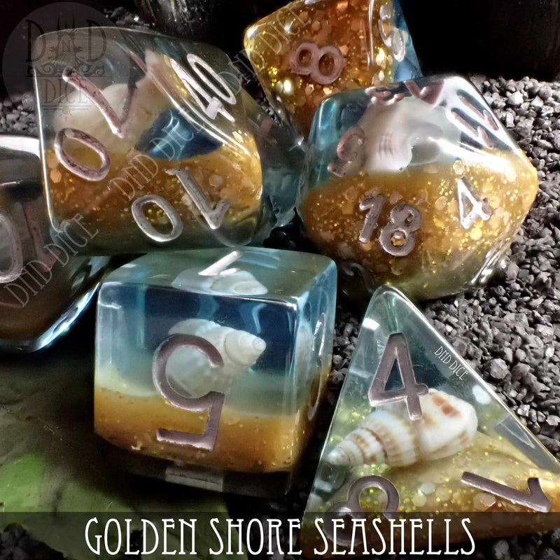Golden Shore Seashells Dice Set