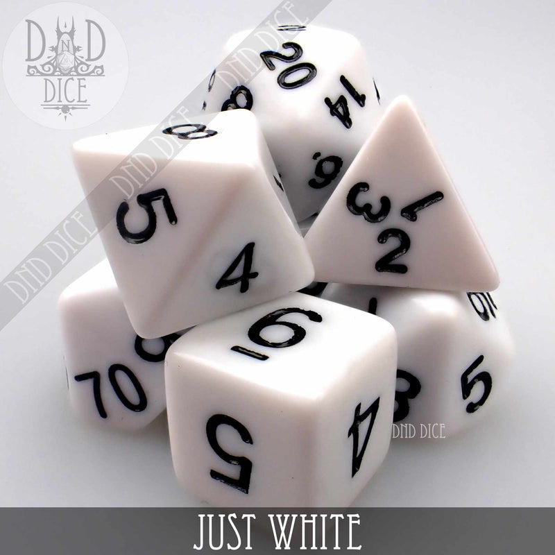 Just White Dice Set