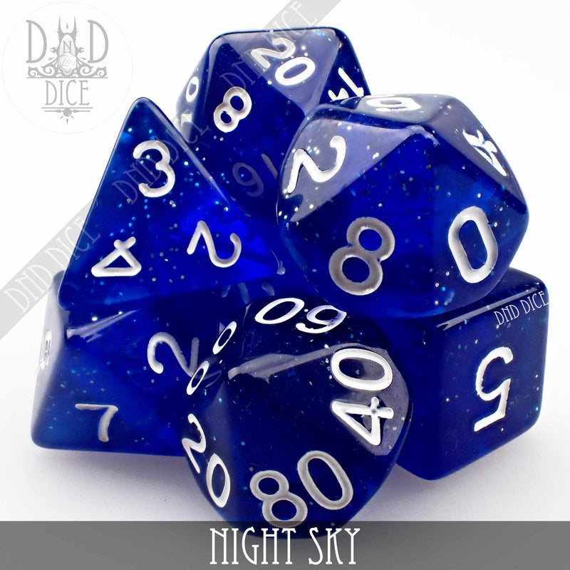 Night Sky Glitter Dice Set