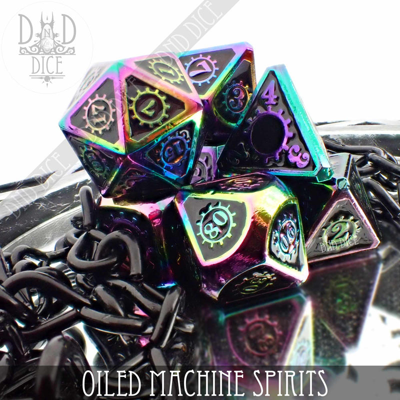 Oiled Machine Spirits Metal Dice Set