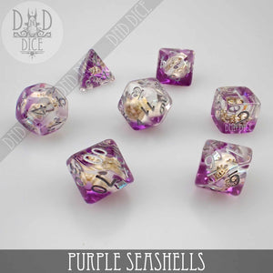 Purple Seashells Dice Set
