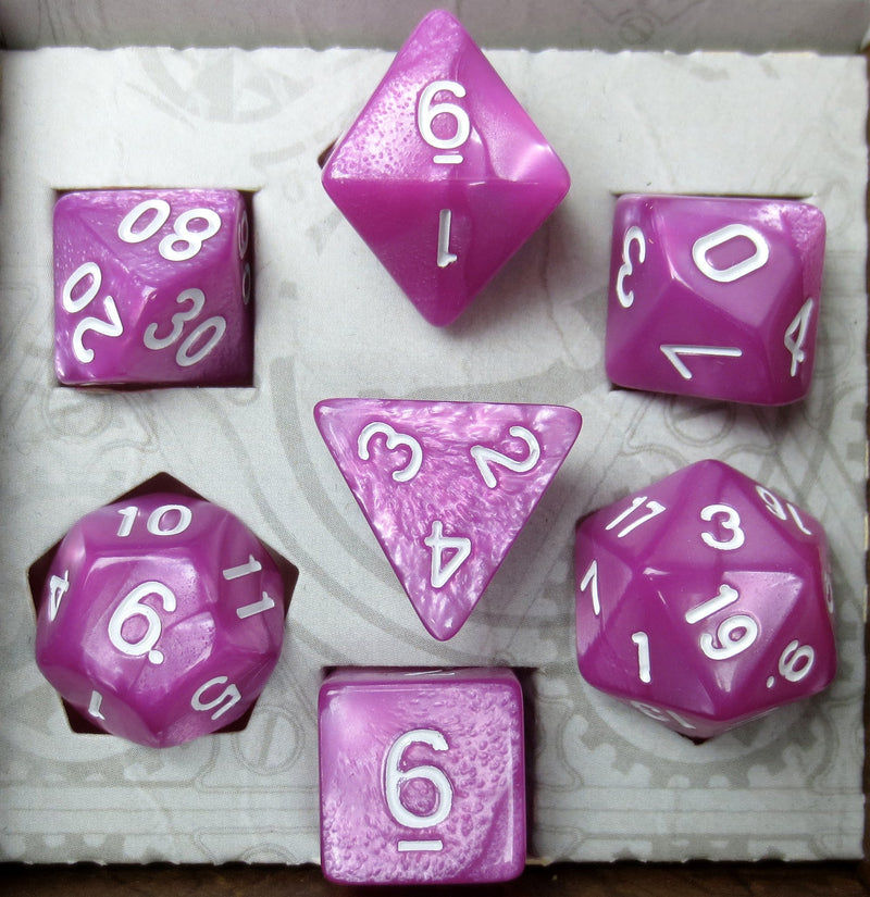 Kunzite Dice Set (Marbled)
