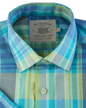 Load image into Gallery viewer, Bar Harbour Short Sleeve Check Rainbow Aqua Blue Shirt K