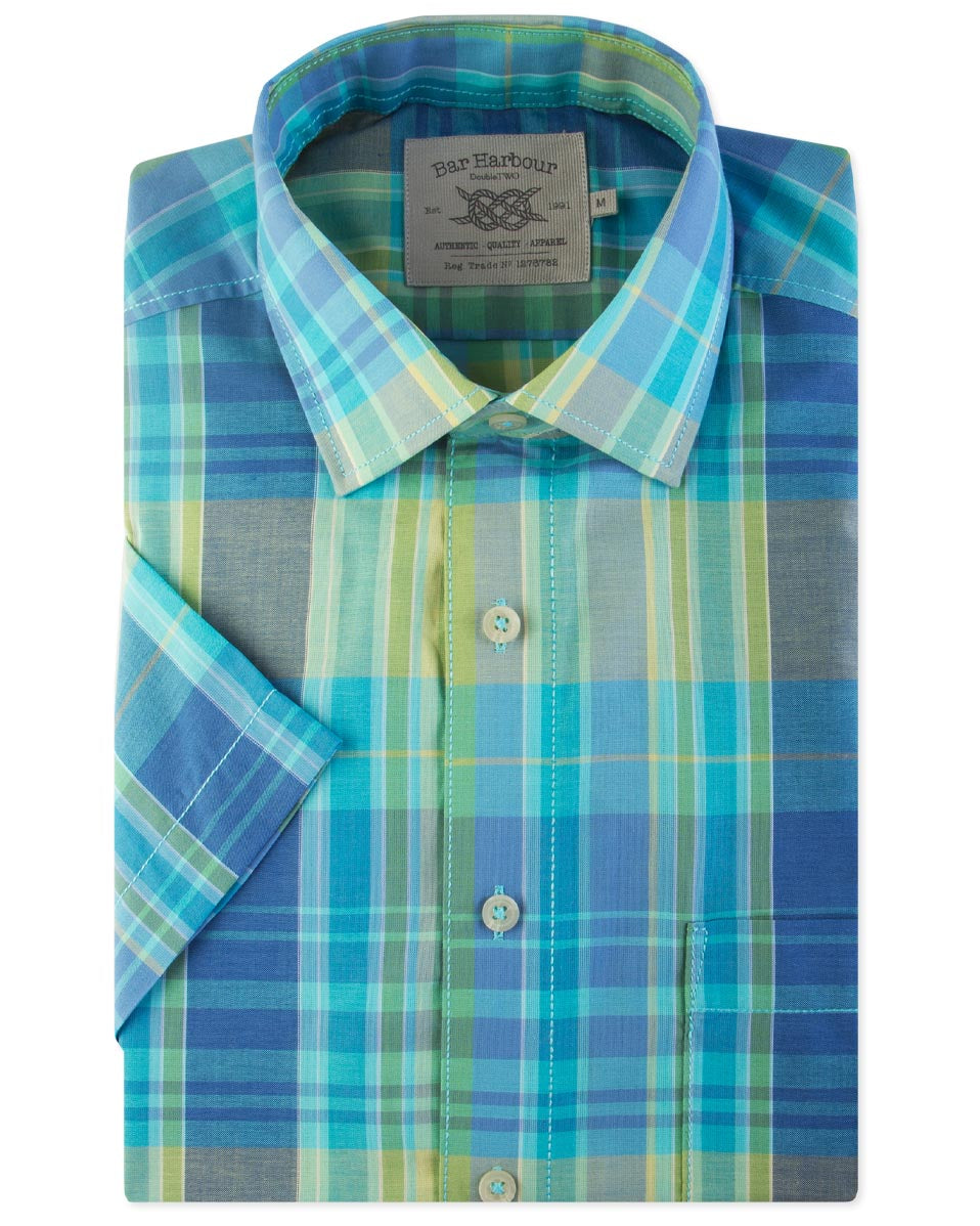 Bar Harbour Short Sleeve Check Rainbow Aqua Blue Shirt K