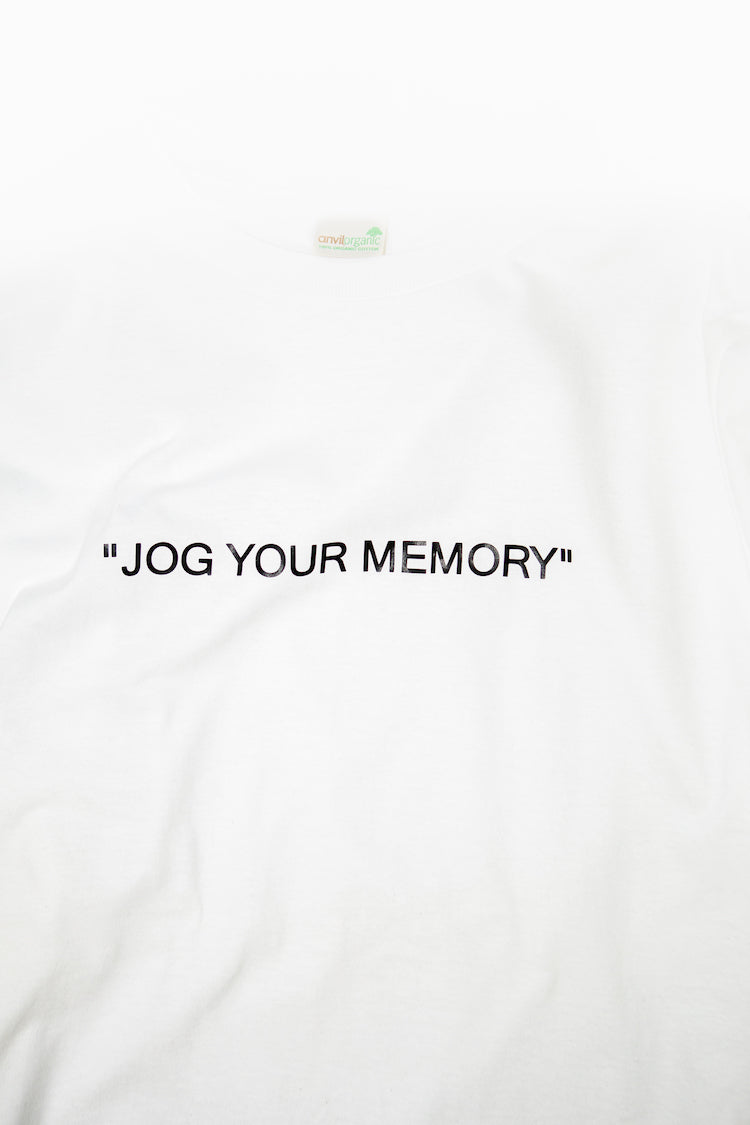 "White ""Jog Your Memory"" T-Shirt Product Shot"
