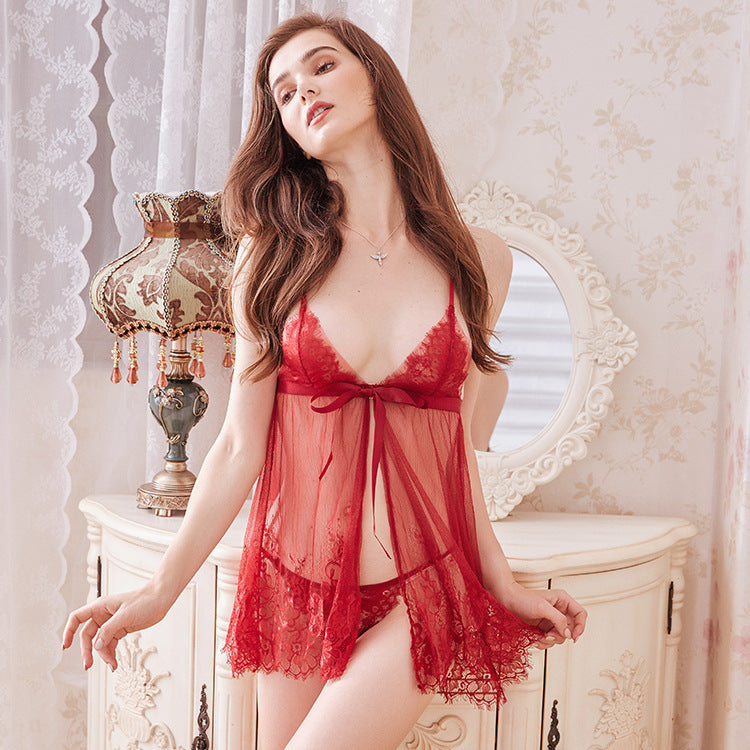 Ribbon tied bow sexy lingerie lace perspective nightdress