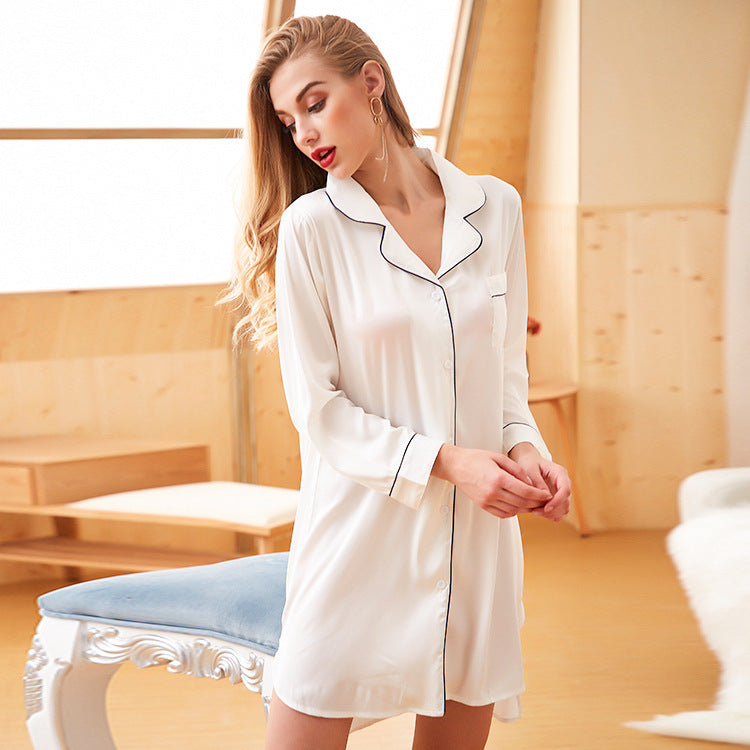 Spinning ice silk long section summer loose cardigan ladies home service  lapel long-sleeved sleepwear