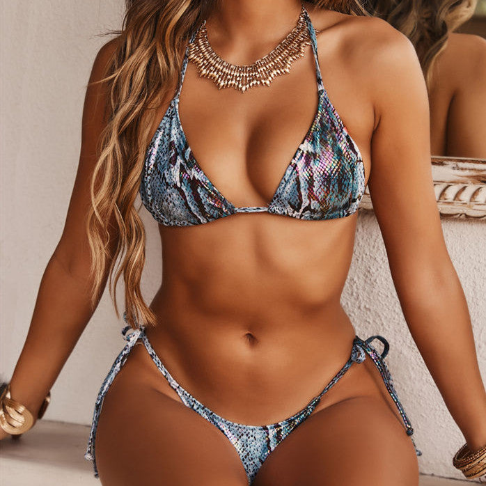 Swimsuit sexy hanging neck print bikini split swimwear