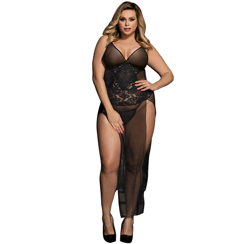 Large size sexy underwear strap sexy bud silk gauze slit dress