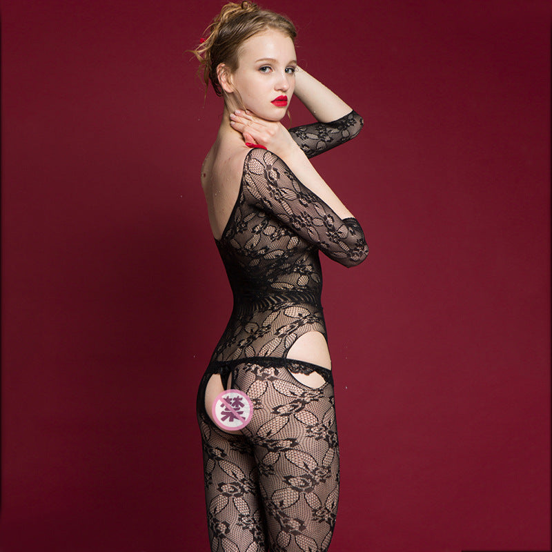 Perspective jacquard sexy lingerie temptation open file romper stockings one-piece mesh
