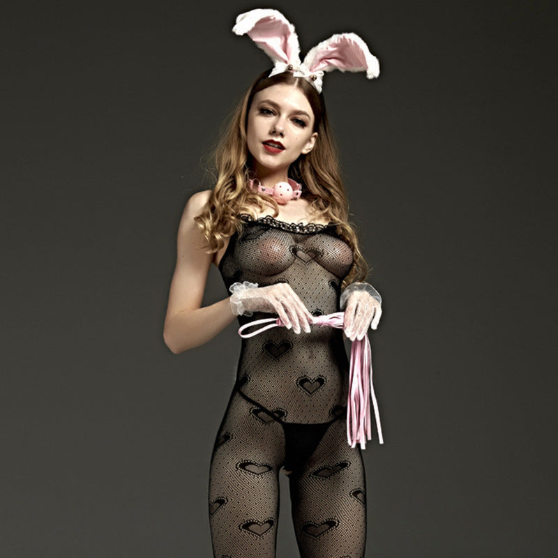 Sexy lingerie sling sleeveless perspective sexy heart shape hollow piece bodysuit stockings