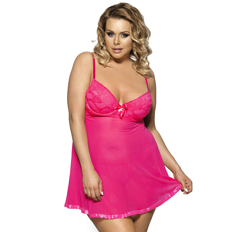 Large size solid color sleepwear sexy nightdress