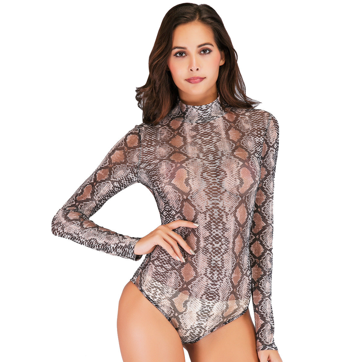Snake mesh print long-sleeved jumpsuit female Slim sexy perspective nightclub dance bottoming shirt