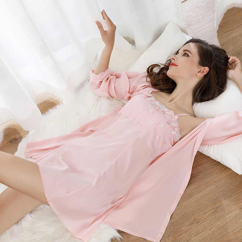 Summer and autumn sexy strap nightdress simulation silk long robe two-piece female silk long-sleeved tube top pajamas