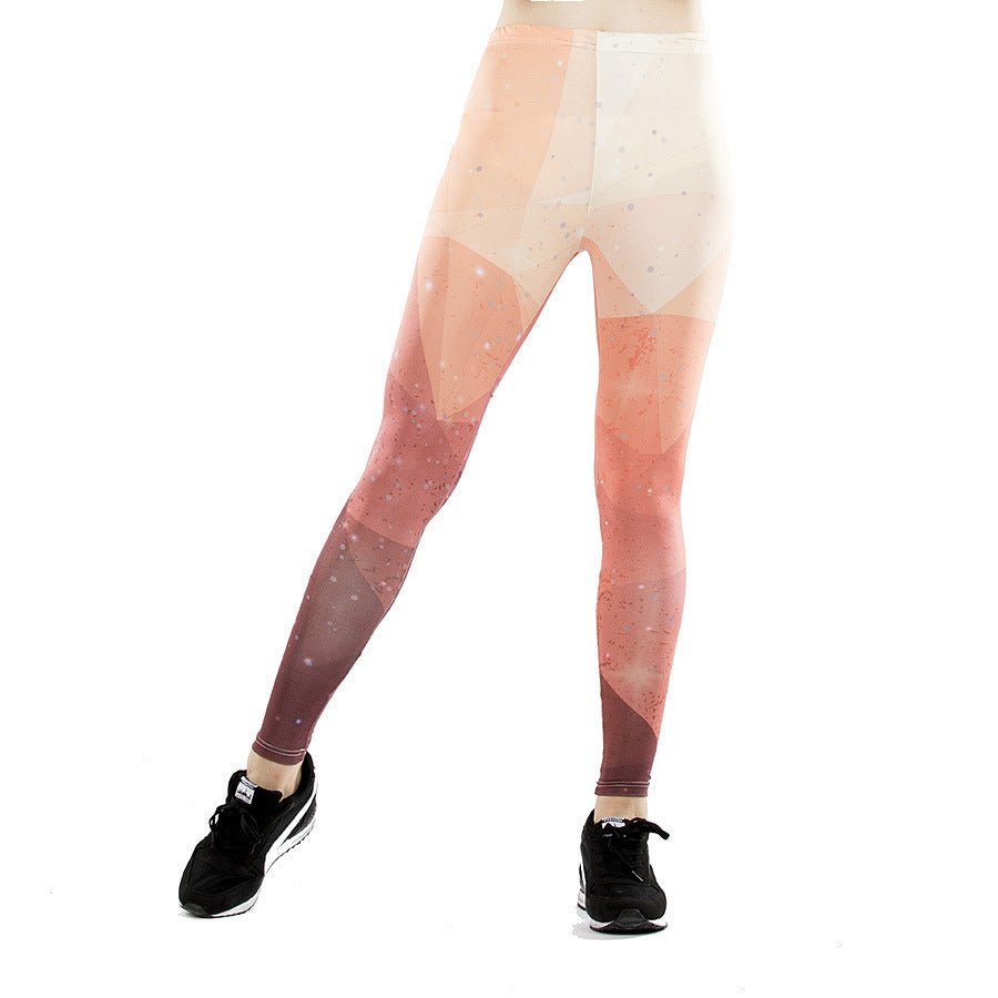Summer women's new digital printing fashion sports leggings fitness yoga pants