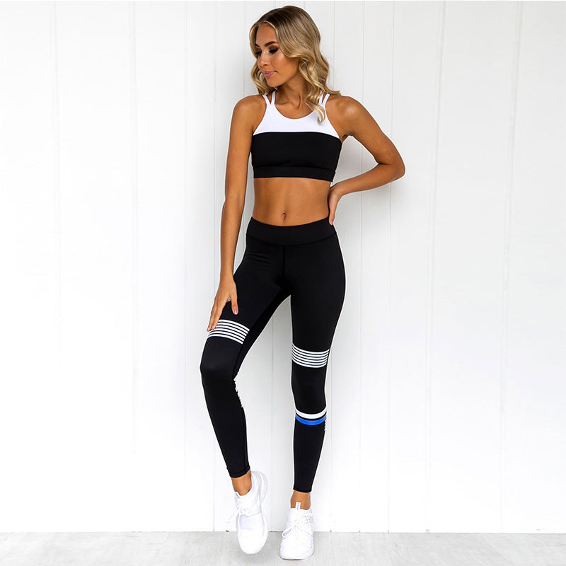 New offset printing yoga fitness vest trousers sports suit yoga clothing suit female