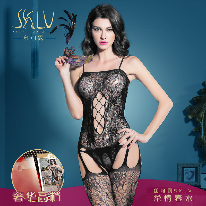 Sexy open erotic lingerie temptation sling one-piece stockings large size uniform