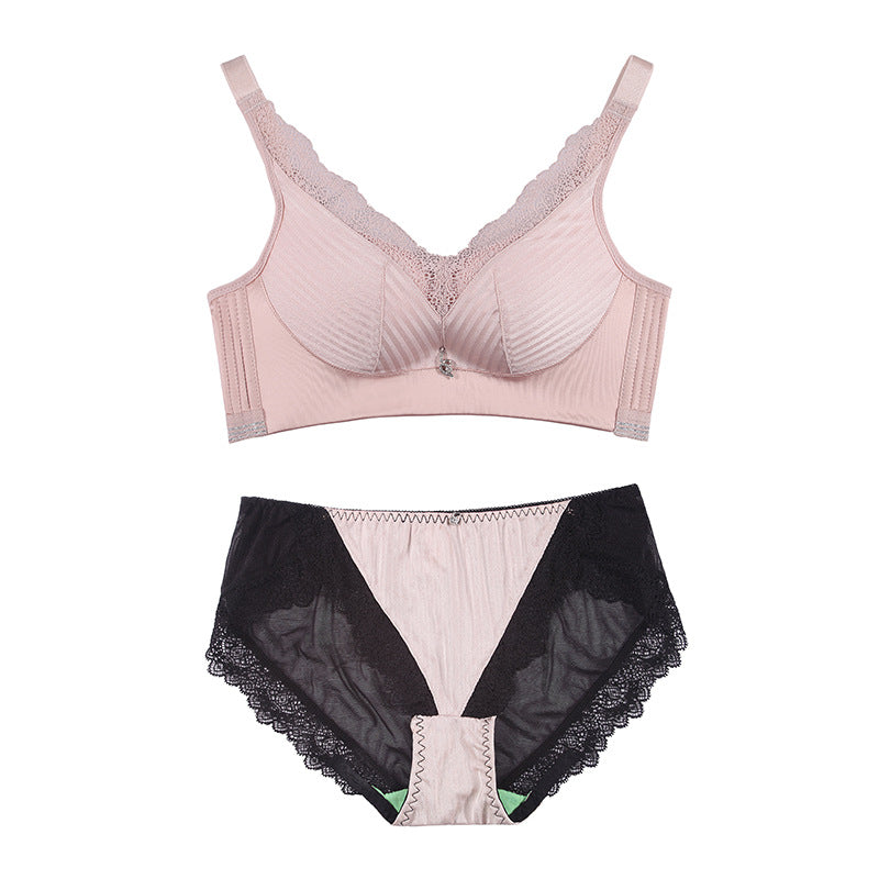 Ultra-thin health cup breathable underwear lace side gather on the support no steel ring adjustment bra female