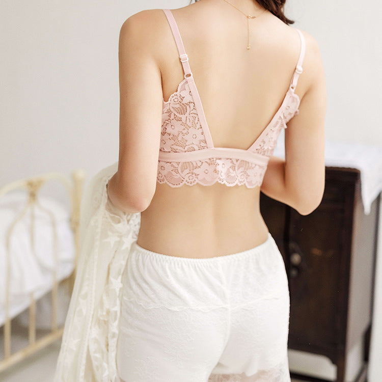 French bra breathable girl lace underwear thick cup wrapped chest back without rims gathered sexy sports vest