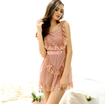 Yarn Sling Nightdress Maid Bow Sexy Temptation Mesh Lace Appeal Pajamas
