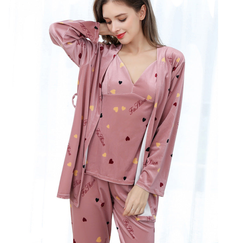 Autumn and winter ladies pajamas sexy gold velvet three-piece printing strap nightdress trousers home suit