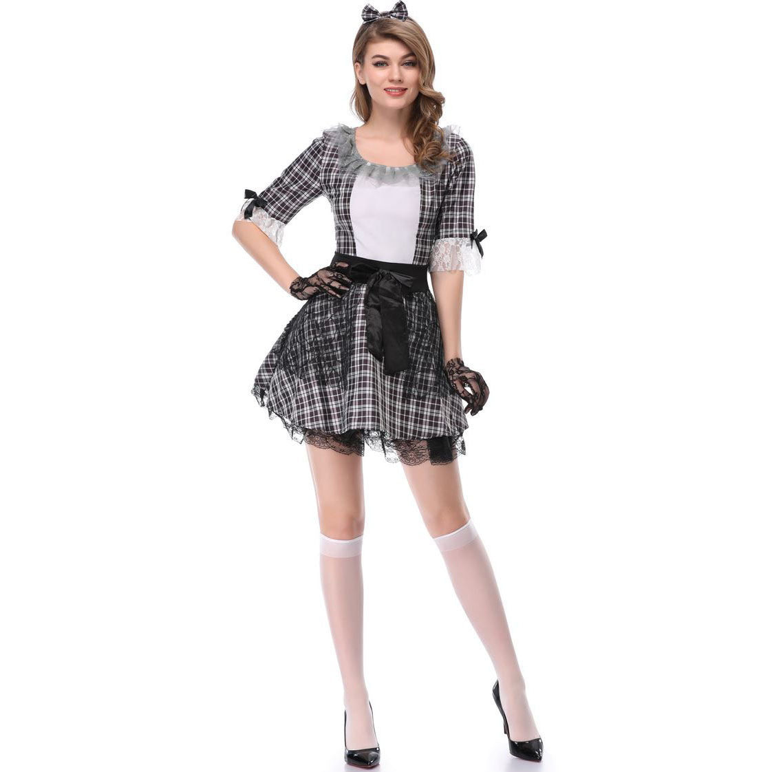 Halloween Cosplay Student Plaid Dress Performance Costume Cute Costume
