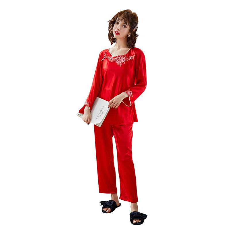 Embroidery silky satin silk silk pajamas women spring and summer two-piece long-sleeved trousers home clothing pajamas set