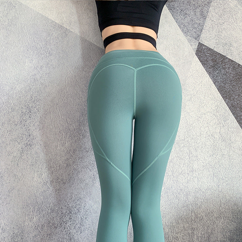 New peach hip fitness pants female elastic tight-fitting running pants high waist abdomen yoga pants