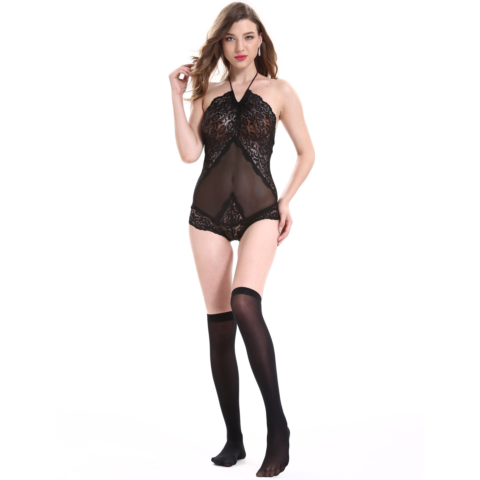 Women's Sexy Lace Lingerie Women's One Piece Perspective Pajamas