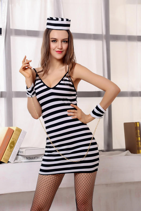 Sexy black and white striped police female prisoner game uniform temptation Halloween masquerade costume