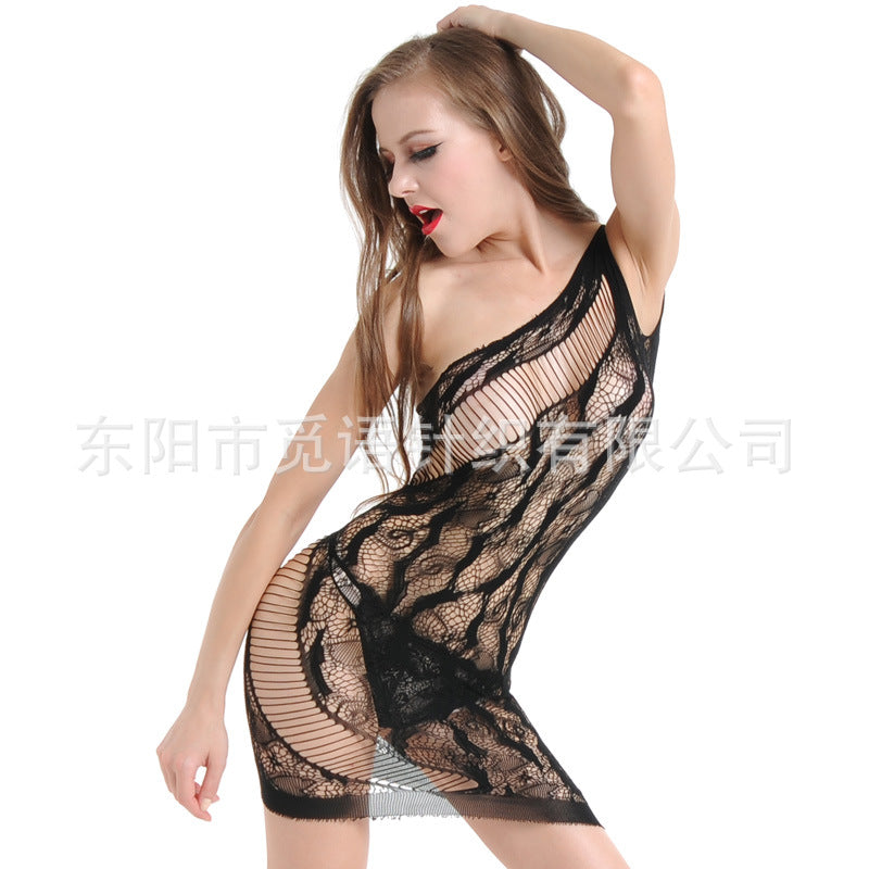Sexy lingerie big size backless suspender skirt temptation one shoulder hollow jacquard nightdress