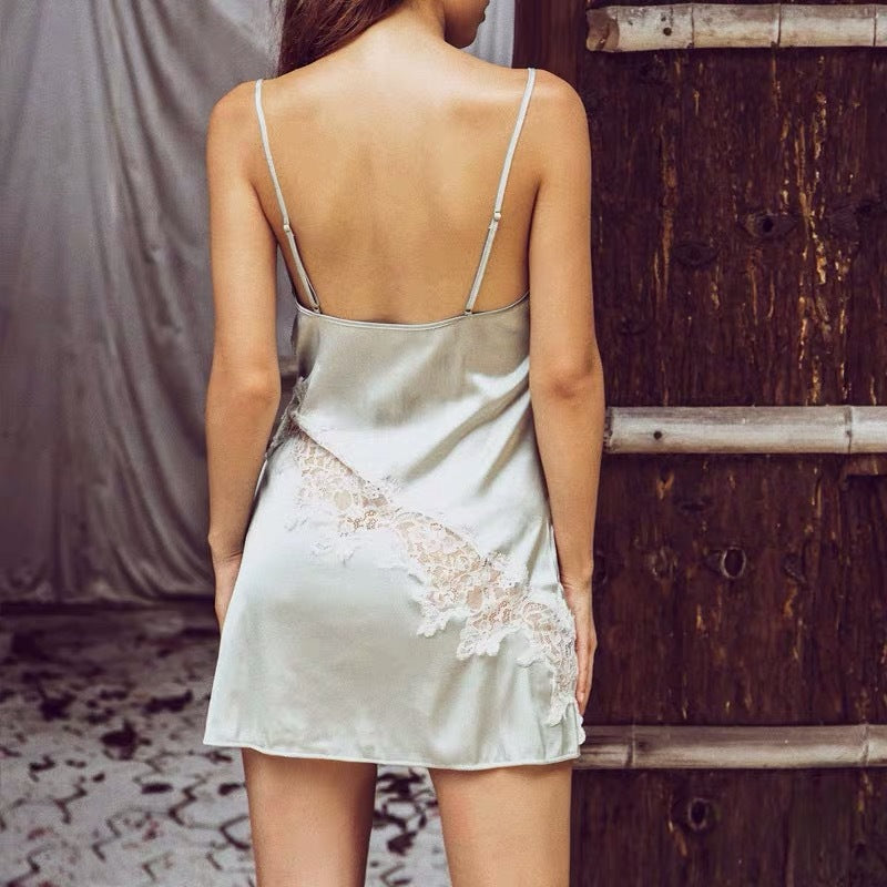 Simulation silk sling backless lace eyelashes nightdress sexy temptation split fork hollow pajamas women's home clothing