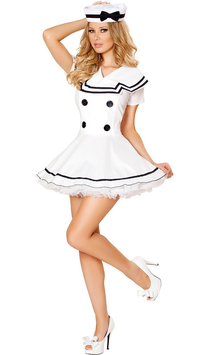 New clothing white one-piece dress navy suit Halloween sailor uniform temptation