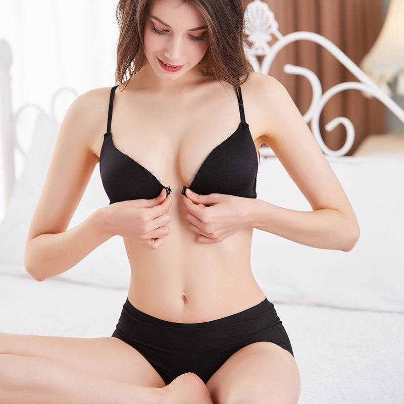French triangle cup front buckle bra cross beauty back sexy no steel ring underwear thin cup ladies bra charm temptation