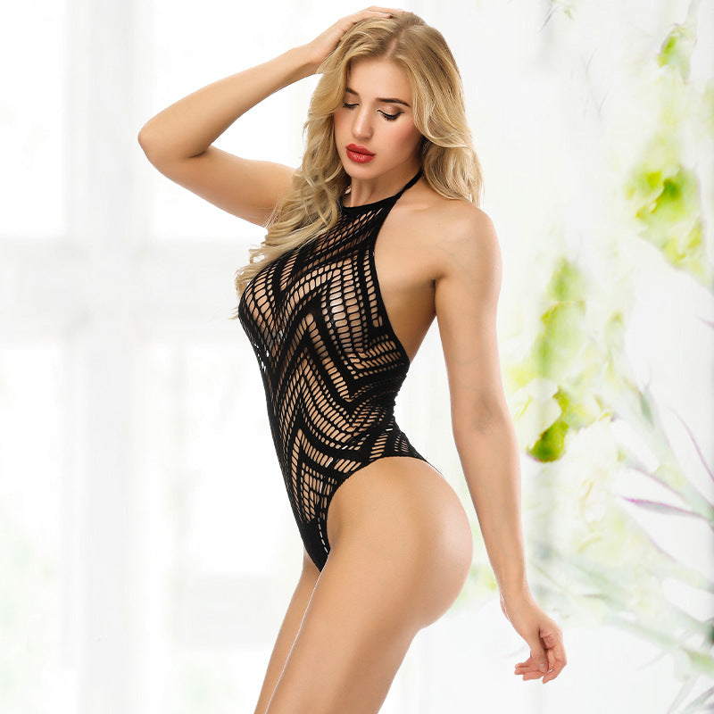 Sexy pajamas women hanging neck straps backless sexy perspective temptation Siamese thong sexy lingerie