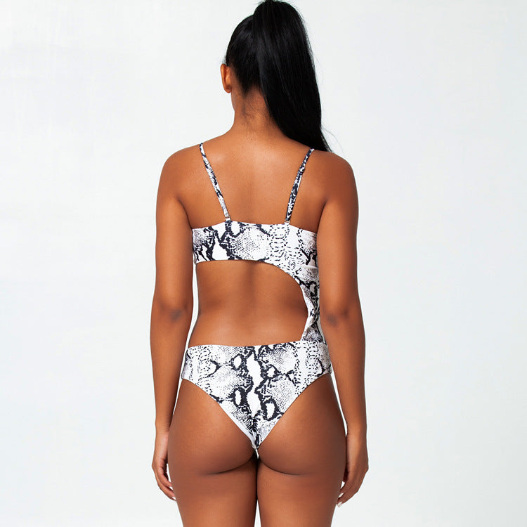 Printed one-piece bikini swimsuit sexy hollow snakeskin swimwear