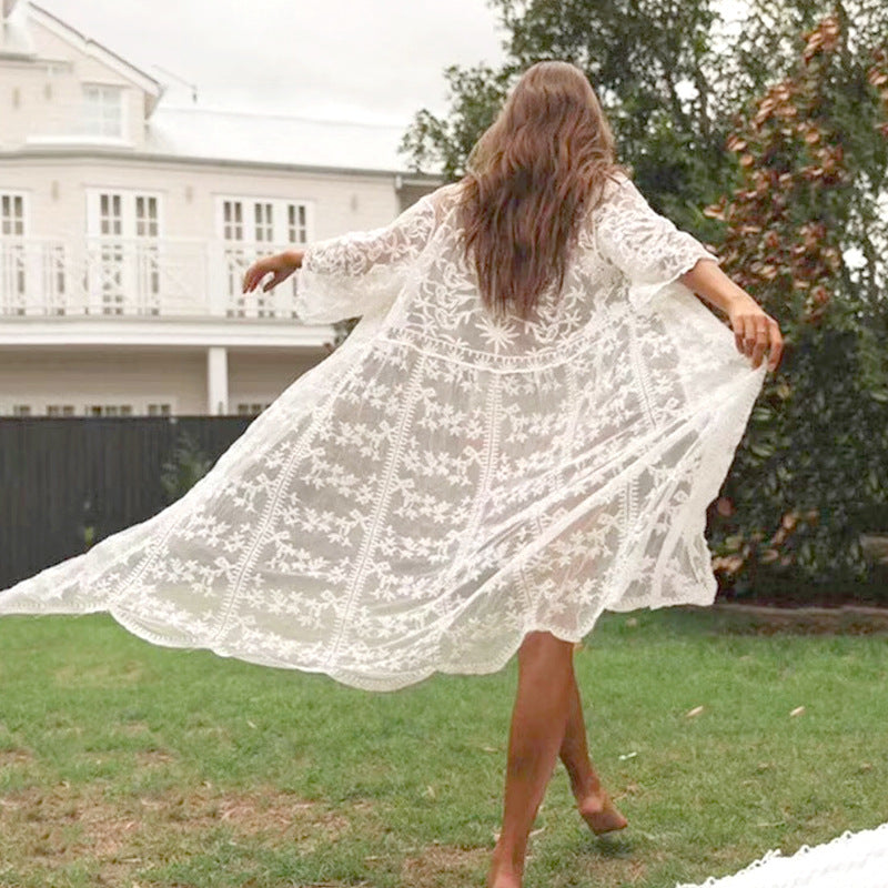 Lace cardigan shawl jacket air conditioning shirt female summer seaside vacation beach sunscreen clothing cover up