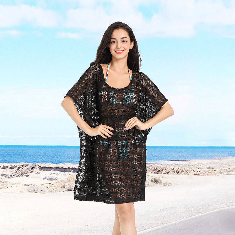 Hand hook hollow beach skirt knitted sling seaside vacation sexy loose bikini beach blouse