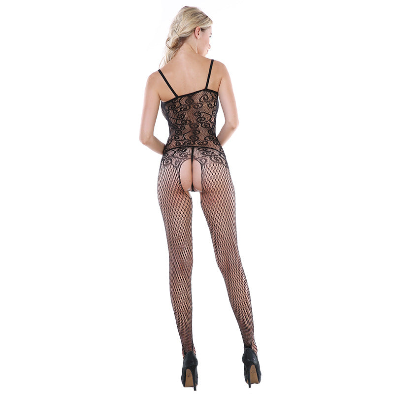 Sexy lingerie female lace border bow jacquard water drop hollow uniform temptation free socks bodystockings