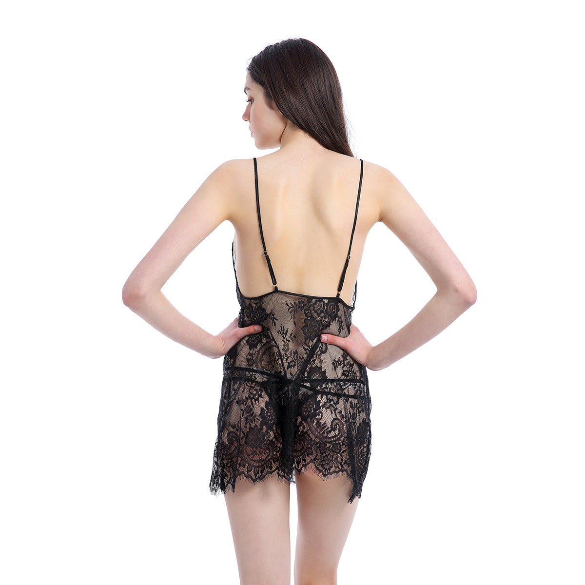Mesh transparent temptation suspenders nightdress sexy lace pajamas sexy lingerie