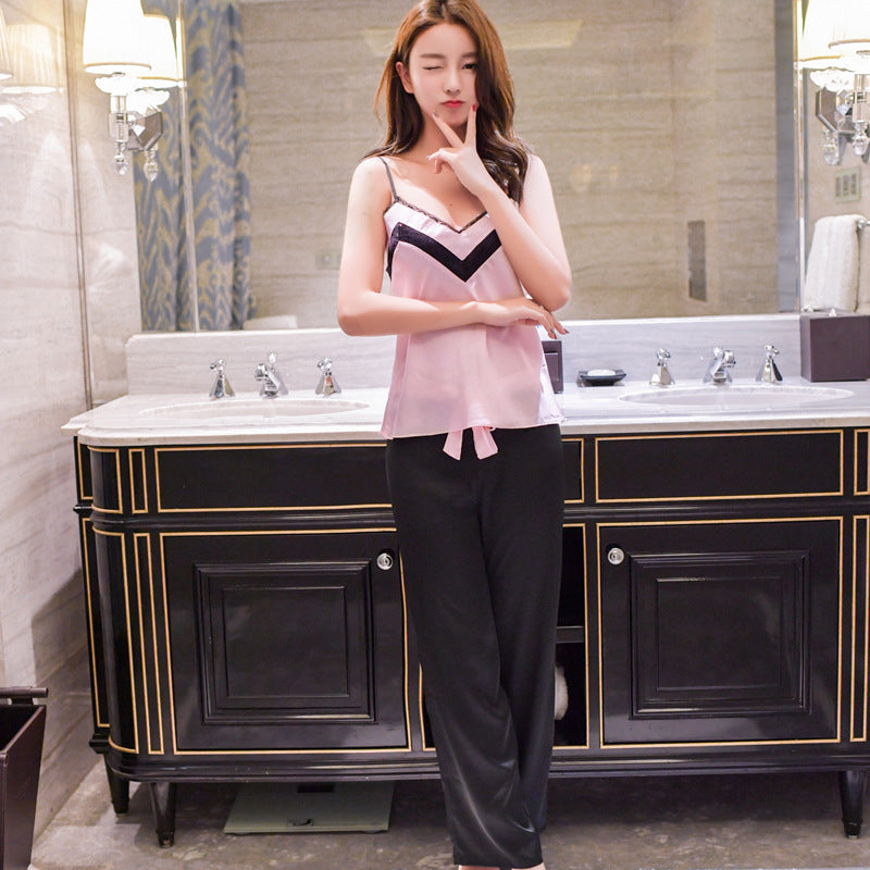 Fashion trousers sexy lace new simulation silk home service two-piece suit