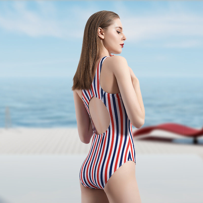 One-piece swimsuit with stripes and sexy back monokini swimwear